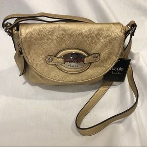 NWT Nicole by Nicole Miller Matte Gold Purse